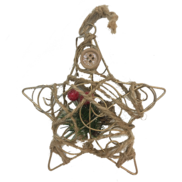 METAL X'MAS STAR SHAPE HANGER W/WRAPPED DECORATION & BERRIES (12)