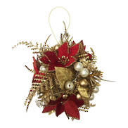 RED/GOLD FERN BALL HANGER (6)