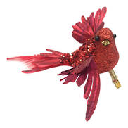 SET 6 RED FEATHER BIRD ON CLIP