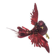 SET 6 BURGANDY FEATHER BIRD ON CLIP