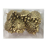 SET6 GOLD PINE CONES (6)