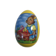 LARGE METAL EGG WITH BUNNY PUSHING BARROW (6)