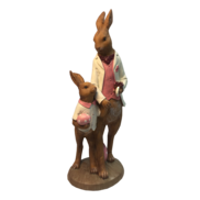 STANDING FATHER AND BOY BUNNY IN PINK WAIST COAT