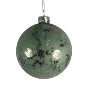 8CMD SAGE GREEN / SILVER GLASS BALL (12)