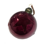 BURGUNDY FLOCK STAR GLASS BAUBLE (12)