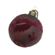 BURGUNDY FLOCK FEATHER GLASS BALL (12)