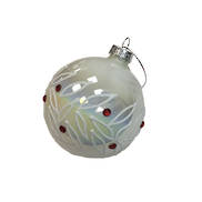PEARL AND RED GEM GLASS BALL (12)