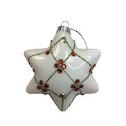 WHITE GLASS STAR WITH RED GEMS HANGER (12)