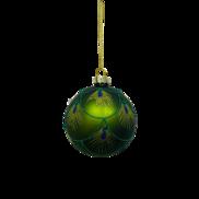 GREEN PEACOCK GLASS BALL (12)