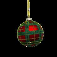RED/GREEN TARTAN GLASS BALL (12)