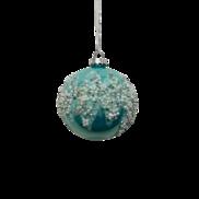 AQUA GLASS BALL WITH SNOW CRYSTALS (12)