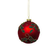 RED GLASS BALL WITH GREEN HOLLY (12)
