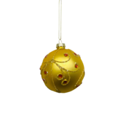 GOLD BALL WITH RED GEMS (12)