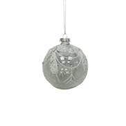 CLEAR GLASS BALL WITH WHITE SWAGS (12)