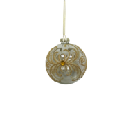 CLEAR GLASS BALL GOLD PATTERN WITH GEM (12)