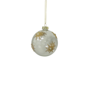 CLEAR GLASS BALL GOLD SNOWFLAKE PATTERN (12)