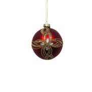 RED BALL WITH GOLD AND SILVER GEMS (12)