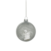 SILVER GLASS OPEN BALL WITH ANGEL (12)