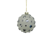 FROSTED GLASS BALL WITH GEMS (12)