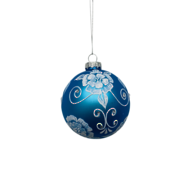 BLUE GLASS BALL WITH WHITE FLORALS (12)