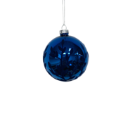 BLUE WITH BLUE FLOCK GLASS BALL (12)