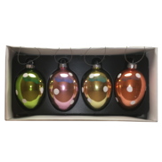 SET 4 MULTICOLOUR GLASS EGGS