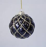 BLACK AND GOLD DIAMOND PATTERN GLASS BALL (12)