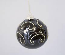 BLACK AND GOLD SWIRL PATTERN GLASS BALL (12)