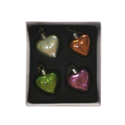 SET 4 MULTICOLOUR GLASS HEARTS