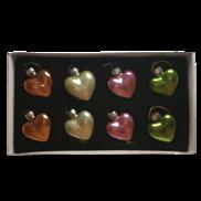 SET 8 MULTICOLOUR GLASS HEARTS