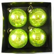 BOXED SET4 METALIC GREEN CRACKLE BAUBLE (2)