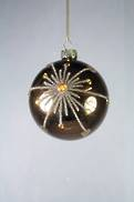 BROWN / COPPER GLASS HANGER WITH SNOWFLAKE DESIGN (12)