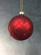 RED GLASS BALL WITH BURGUNDY SCALLOPED GLITTER PATTERN (12)