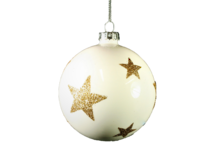 8CMD WHITE GLASS BALL WITH GOLD GLITTER STARS  (12)