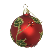 6CMD RED GLASS BALL WITH HOLLY PATTERN (12)