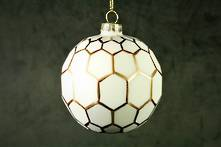 8CMD WHITE PAINTED GLASS BALL WITH GOLD POLYGON OUTLINES (12)