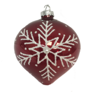 RED GLASS BALL WITH WHITE SNOWFLAKE  (12)
