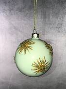 WHITE GLASS BALL WITH GOLD GLITTER SNOWFLAKES (12)
