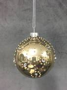 OPALESCENT GOLD BALL WITH DIAMONDS (6)