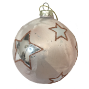 PINK GLASS DISTRESSED BALL WITH SILVER STARS (12)