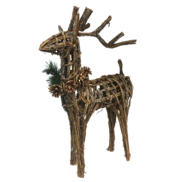 STANDING WICKER DEER WITH PINE COLLAR