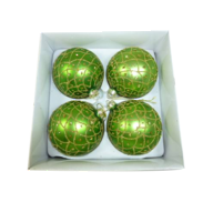 BOXED SET 4 GREEN WITH GOLD GLITTER HANGERS (2)