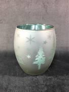 AQUA GLASS TEALIGHT W/ REINDEER & TREES (12)