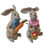 PAIR BOY/GIRL SQUATTING LINEN BUNNIES