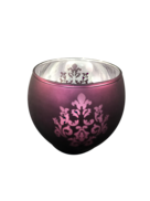 SILVER AND PLUM VOTIVE WITH CHANDELIERE DESIGN (12)