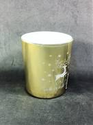 GOLD - WHITE VOTIVE HOLDER WITH DEER IN SNOW DESIGN (12)