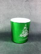 METALLIC GREEN VOTIVE HOLDER WITH MERRY CHRISTMAS TREE DESIGN (12)