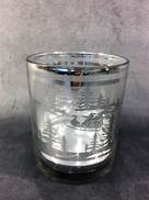 CLEAR VOTIVE HOLDER WITH SILVER FOREST SCENE (12)