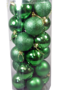 6CMD TUBE 24 GREEN PLASTIC HANGING BALLS