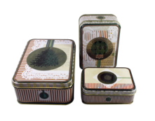 SET3 GREEN/GOLD RECTANGLE TINS (2)